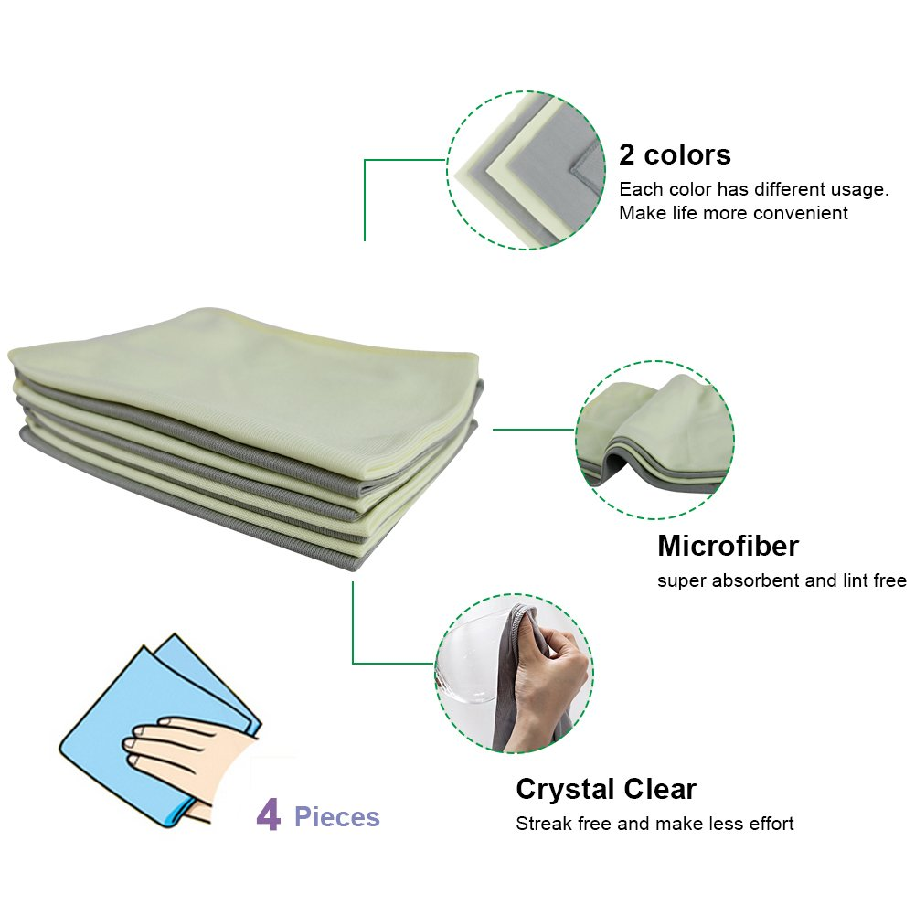NEUAIR Glass Cleaning Cloths for Car Windows Mirrors Computer Screen TV Camera Lint Free Scratch Free 12x16,4 Pack