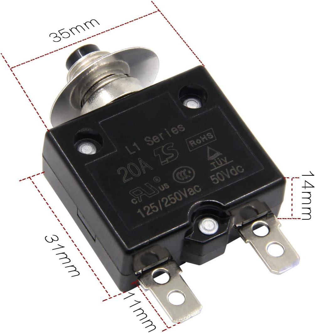 bot/ón de reinicio uxcell 2 protectores t/érmicos de sobrecarga AC 125//250 V