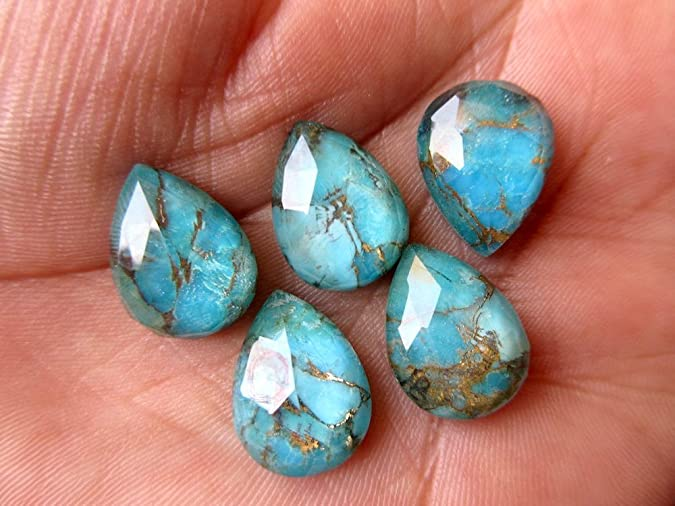 ME-0005 Gorgeous Copper Turquoise Pear Cabochon Size 12X16mm Pack of 10 Pieces Weight 64 carat 100/% genuine and natural stone