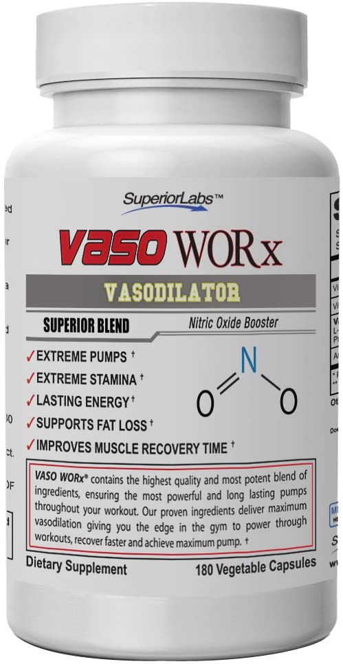Superior Labs VASOWORx Powerful Nitric Oxide Dietary Supplement 1,600 mg, 180 Vegetable Capsules 7 Powerful Ingredients Increased Energy, Stamina, Muscle Growth and Cardio