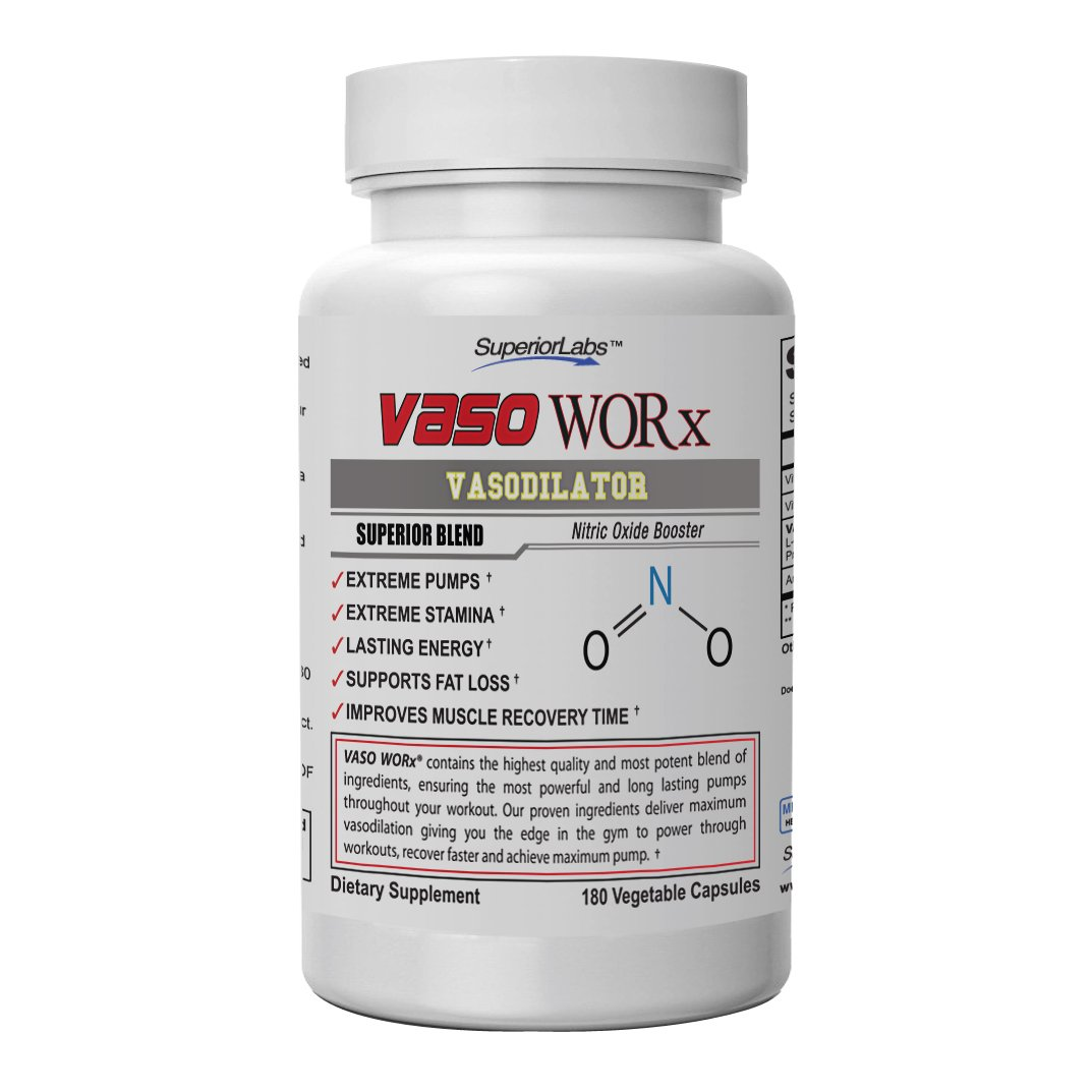 Superior Labs – VasoWORx® – Powerful Nitric Oxide Dietary Supplement – 4,600 mg, 180 Vegetable Capsules – 7 Powerful Ingredients – Increased Energy, Stamina, Muscle Growth and Cardio
