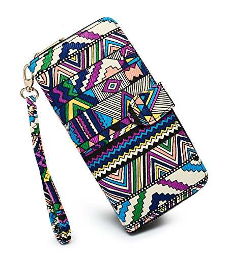 - LOVESHE Women's New Design Bohemian Style Canvas Bifold Purse Clutch Wallet Card Holder New Fashion