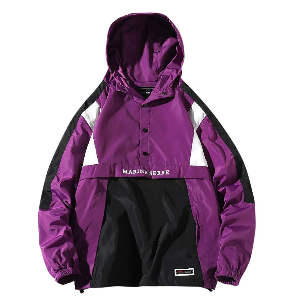 Mens Pullover Hooded Waterproof Lightweight Windbreaker Jacket Raincoat Outdoor Jacket Button-up Letter LIM&Shop Purple by LIM&SHOP-Women Tops