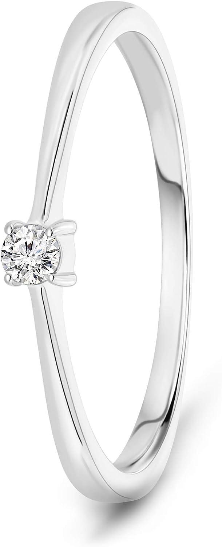 Miore - Anillo de compromiso para mujer, oro blanco de 9 quilates/oro 375, diamante brillante de 0,05 ct
