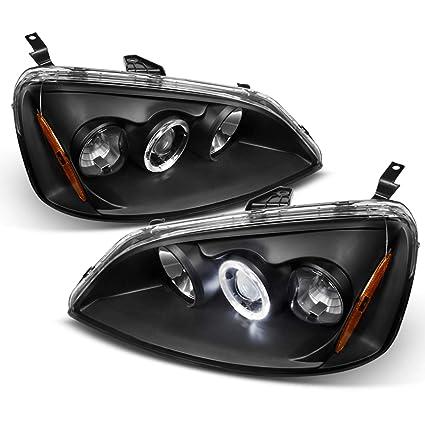 Honda Civic bisel negro Halo anillo proyector faros delanteros ...