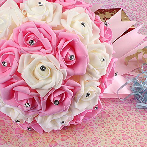"""Huayao 12"""" Artificial Rose Silk Flower Bouquet for Bridal Wedding Home Decoration (Pink & White)"""