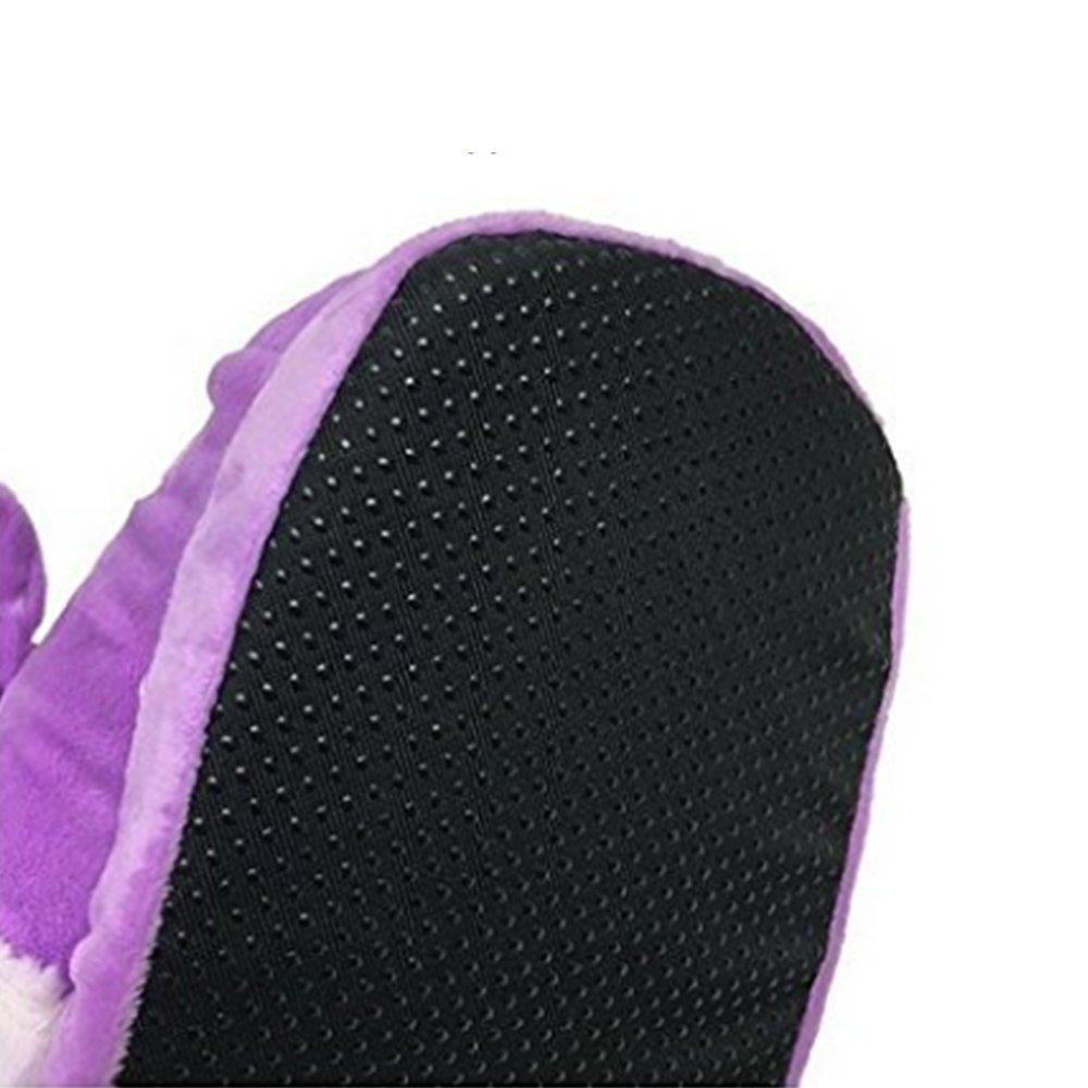 JYSport, Pantofole da donna con motivo con con con unicorno in peluche, leggere, in memory foam, con pois, adatte per adulti, taglie europee dalla 39 alla 42, U-pink, 39 U-purple 088339