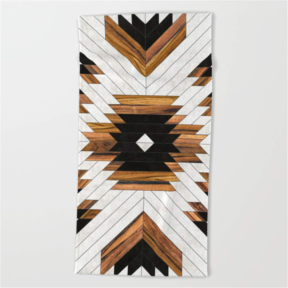 Huisfa Urban Tribal Pattern 5 - Aztec - Concrete and Wood Beach Towel 31.5''x51.2''