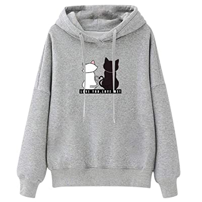 Goiwiejhg Women Junior Girl Hooded Sweater Jumper Hoody Sweater Plus Size Tops Pullover Sweatshirt Student Blouse Tops at Women's Clothing store