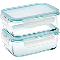 Taliona Borosilicate Glass Boro Pro Rectangular Food Container Set, Blue, 725 ml