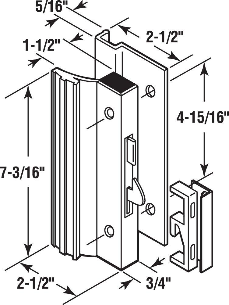 Prime-Line Products C 1203 Sliding Glass Door Handle Lock, Hook Style, Surface Mount, White, Aluminum