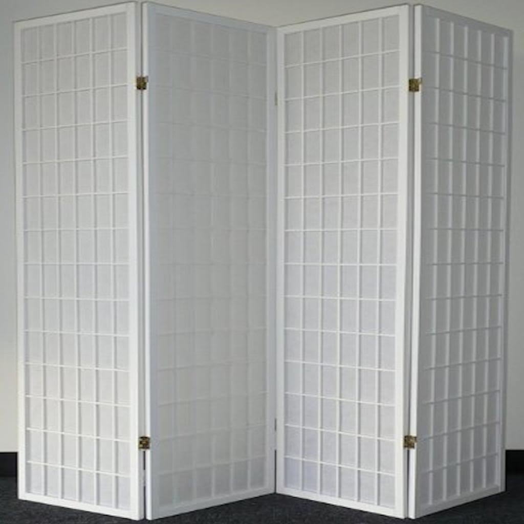 Legacy Decor 4 Panel Japanese Oriental Style Room Screen Divider White Color by Legacy Decor