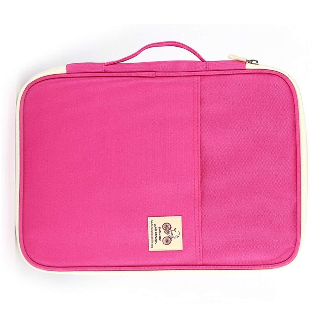Bella Forniture per ufficio Borsa multiuso per documenti A4 con cerniera per documenti, dimensioni  35,0 cm  25,0 cm  3,0 cm (colore   rosa)