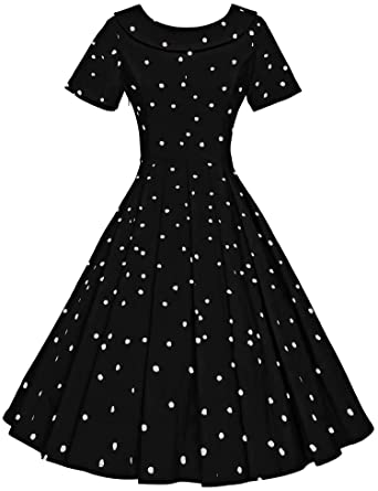 Gown Town Women's 1950s Polka Dot Vintage Dresses Audrey Hepburn Style Party Dresses by Gown Town