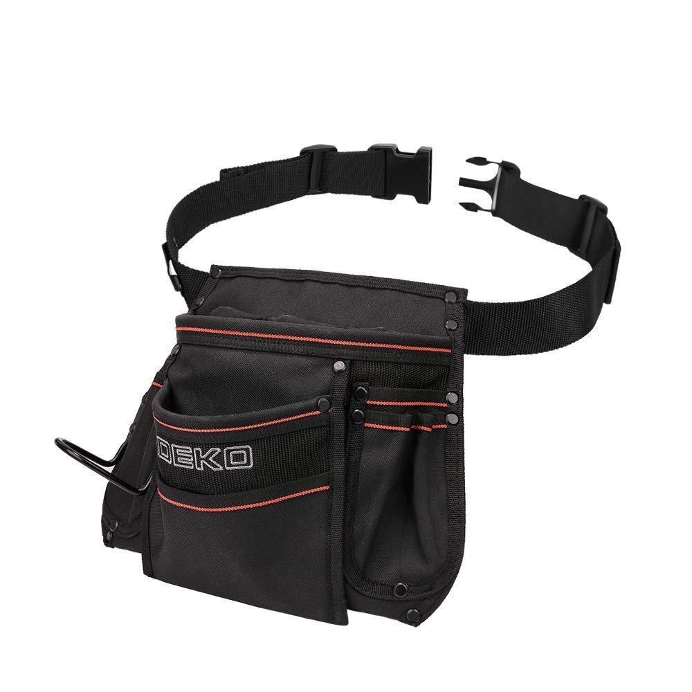 DEKO Tool Pouch with Belt 12 Pockets Electrician Tool Carpenter Nail Waist Bag 600D Oxford cloth Black by DEKO (Image #3)