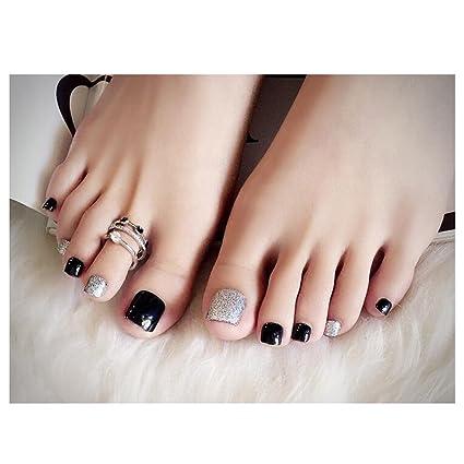 Amazon.com: LuckySHD Shiny Silver Finished Toe Nails Glitter ...