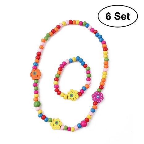 TOYMYTOY Set gioielli con collana principessa bambina e bracciale, 6 set