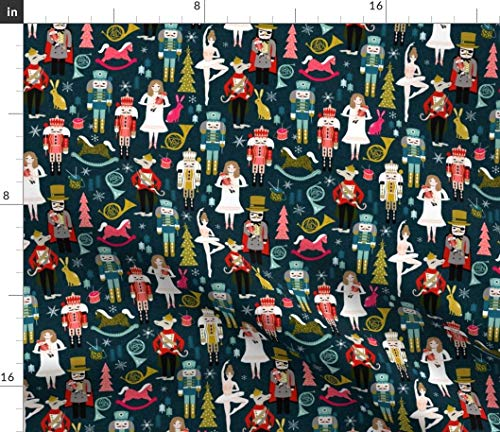 Christmas Fabric - Nutcracker Fabric Xmas Holiday Small Scale Organic Kni Ballet Andrea Lauren Print on Fabric by the Yard - Lightweight Cotton Twill for Sewing Bottomweight Fashion Apparel Home Decor