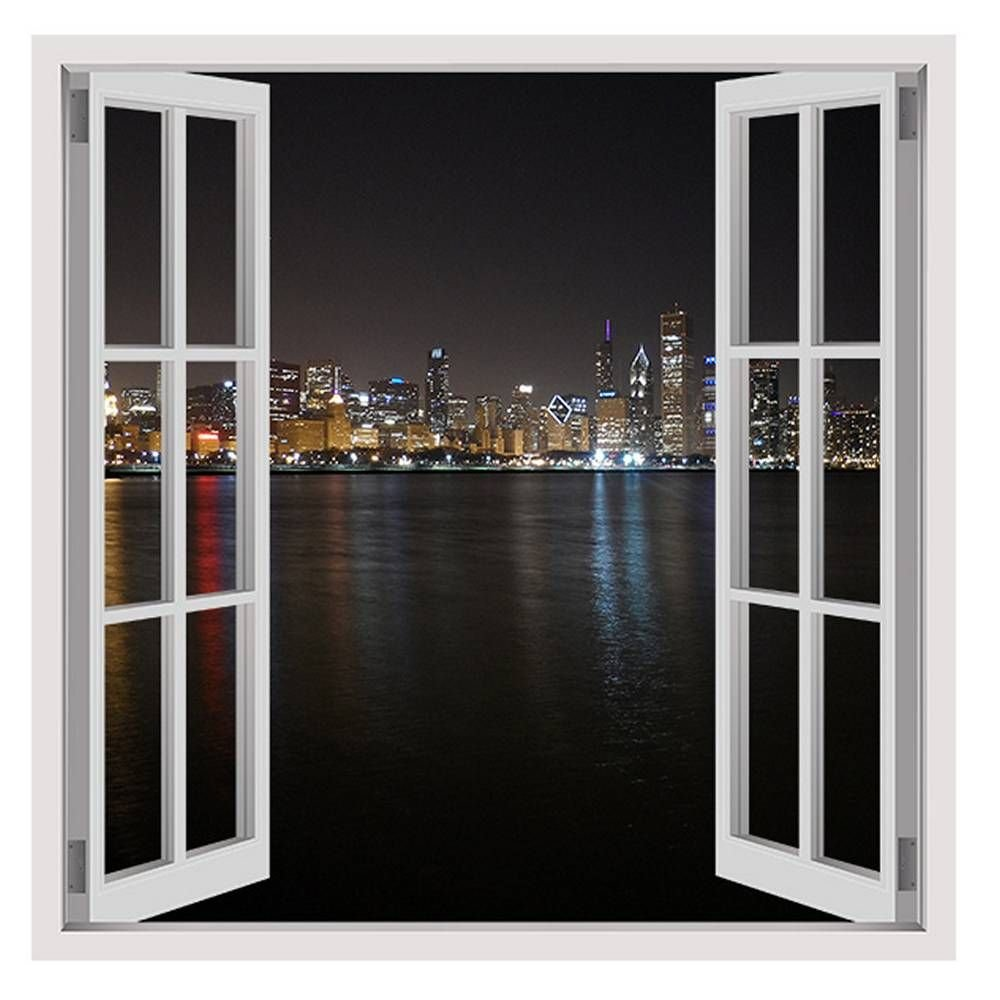 Alonline Art Chicago At Night Fake 3D Window FRAMED STRETCHED CANVAS (100% Cotton) Gallery Wrapped - READY TO HANG | 30''x30'' - 76x76cm | Oil Paintings Prints For Living Room Frame Giclee