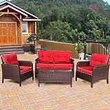 Tangkula 4 Piece Outdoor Furniture Set Patio Garden Outdoor Wicker Conversation Set (Red)