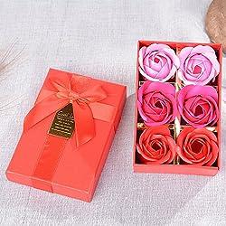 Caja de Regalo Creativa Flor de Jabón de Rosas Románticas Día de San Valentín Matrimonio de Cumpleaños Confesión Girlfrie,Rojo