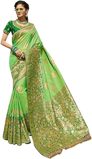 Designer Vestidos de Fiesta de diseño Indio Silk Saree Sari con la Blusa Original de Mujer
