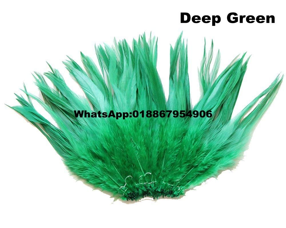 Maslin 5 Bundle/lot Bleached and Dyed Deep Green Strung Rooster Saddle Feathers 10-15cm 4-6inch Chicken Feather - (Color: Light Purple)