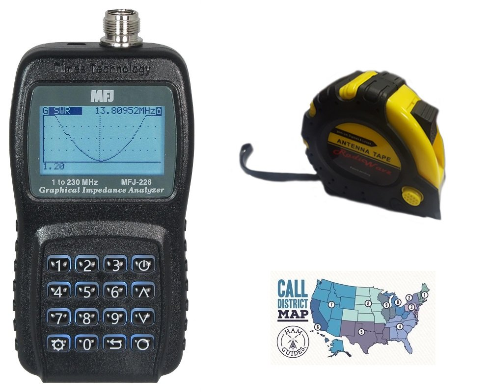 Includes MFJ-226 HF//VHF//220MHz Graphical VNA Antenna Analyzer with The New Radiowavz Antenna Tape 2m - 30m and HAM Guides Quick Reference Card 3 Items Bundle