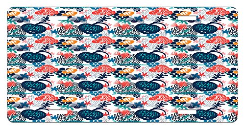 Aquarium License Plate by Lunarable, Heart Shaped Stingray and Fish with Dots Doodle Style Underwater Community Design, High Gloss Aluminum Novelty Plate, 5.88 L X 11.88 W Inches, Multicolor