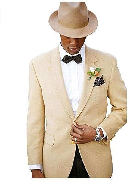 Amazon.com: AK Beauty Mens Beige 2 Pieces Mens Suits Peak ...