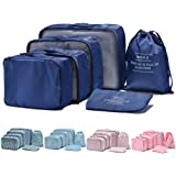 Arxus 6 Set Packing Cubes Travel Luggage Waterproof Organizers (Navy Blue)