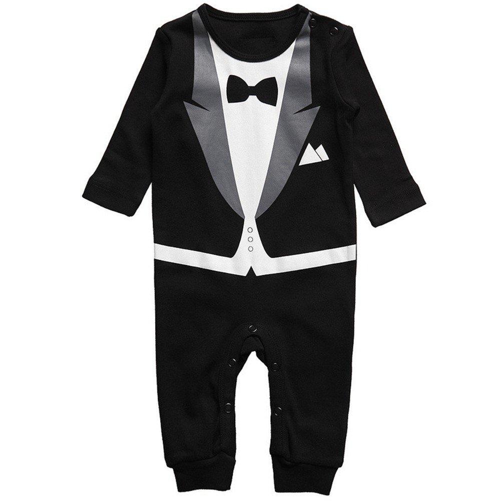 Vinaka Newborn Baby Boy Rompers Tuxedo All-in-One Suit Bowtie Bodysuit Gentleman Black) 20160710-2-1