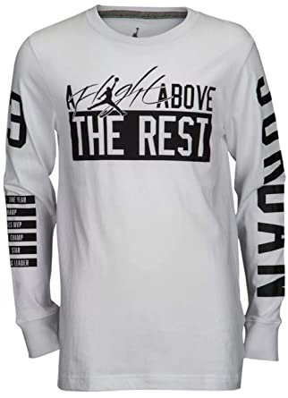 72794f33c6b577 NIKE Air Jordan Boys  Above The Rest Long Sleeve T-Shirt - White ...