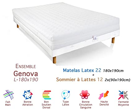 Genova conjunto colchón somier 22/12 látex 180 x 190 cm