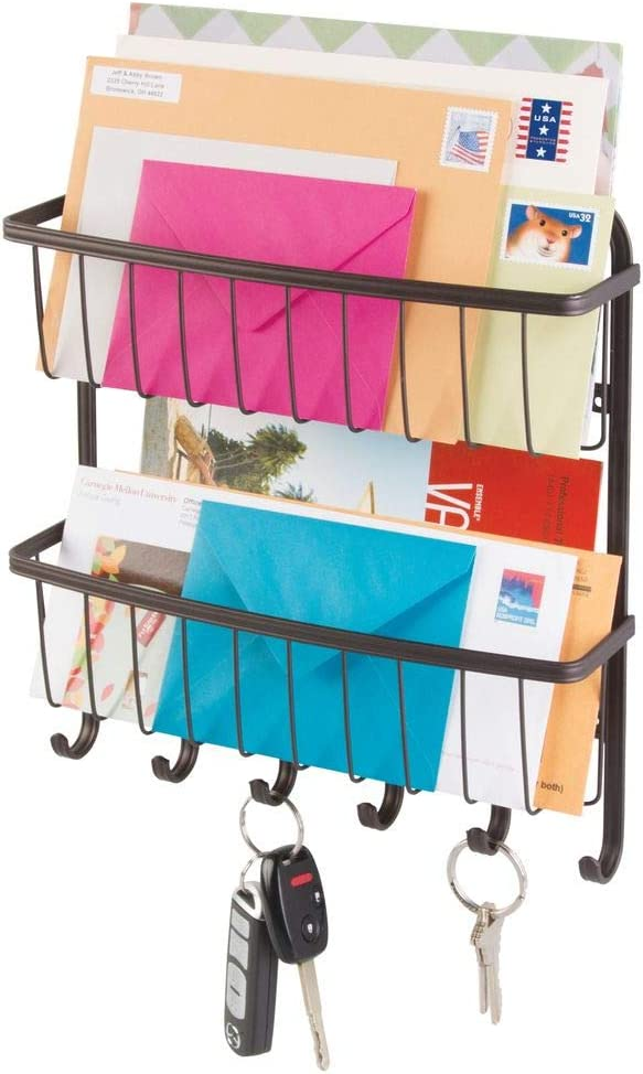 mDesign Wall Mount Metal Farmhouse Mail Organizer Storage Basket - 2 Tiers, 6 Hooks - for Entryway, Mudroom, Hallway, Kitchen, Office - Holds Letters, Magazines, Coats, Leashes, Keys - Bronze