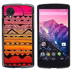 rígido protector delgado Shell Prima Delgada Casa Carcasa Funda Case Bandera Cover Armor para LG Google Nexus 5 D820 D821 /Handmade Sunset Drawing Ink Pink/ STRONG