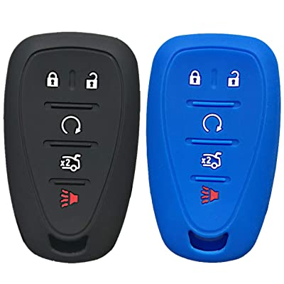 Qty(2) Alegender Silicone 5-Btn Smart Key Cover Fob Case Skin Remote Jacket Protector for Chevrolet 2020 2020 2020 Chevy Malibu Camaro Sonic Cruze Volt Equinox HYQ4EA: Automotive