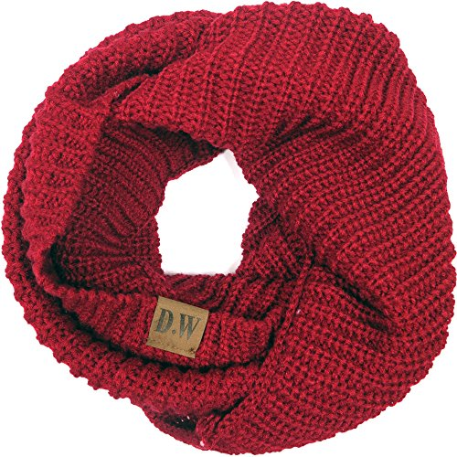Debra Weitzner Womens Knitted Infinity Scarf Warm Loop Circle Winter Neck Warmer Wine Red One size