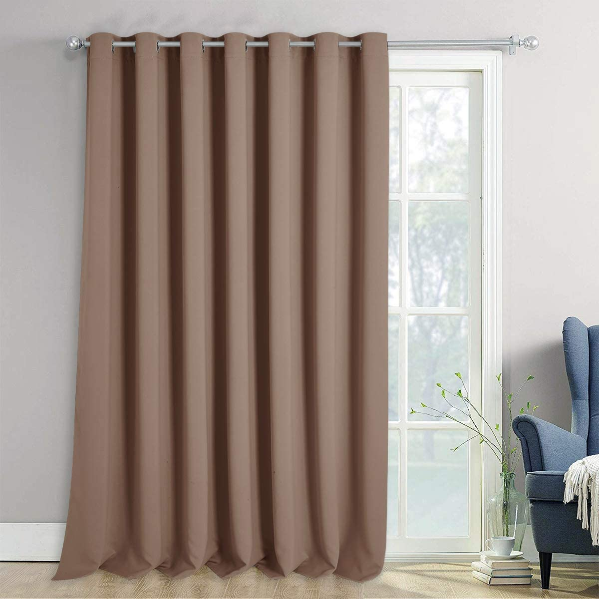 NICETOWN Patio Blackout Curtain Panels - Extra Wide Curtains, Sliding Door Insulated Drape, Privacy Room Divider Curtain for Hall Room (Tan=Cappuccino, 100 x 108 Inch)