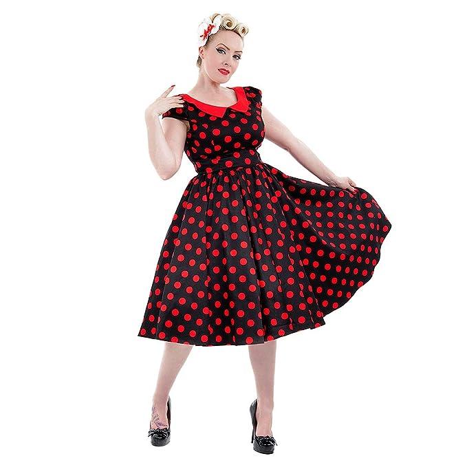 H&R Vestido Vintage Rockabilly de Lunares Grandes y Estilo Retro (Negro/Rojo)