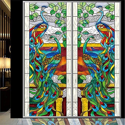 set-of-1-panel-ostepdecor-custom-peacock-translucent-non-adhesive-stained-glass-window-films-24-w-x-