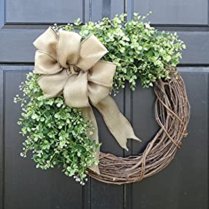 Eucalyptus Greenery Grapevine Wreath with Burlap Bow for Summer Spring Year Round Farmhouse Front Door Decor 68
