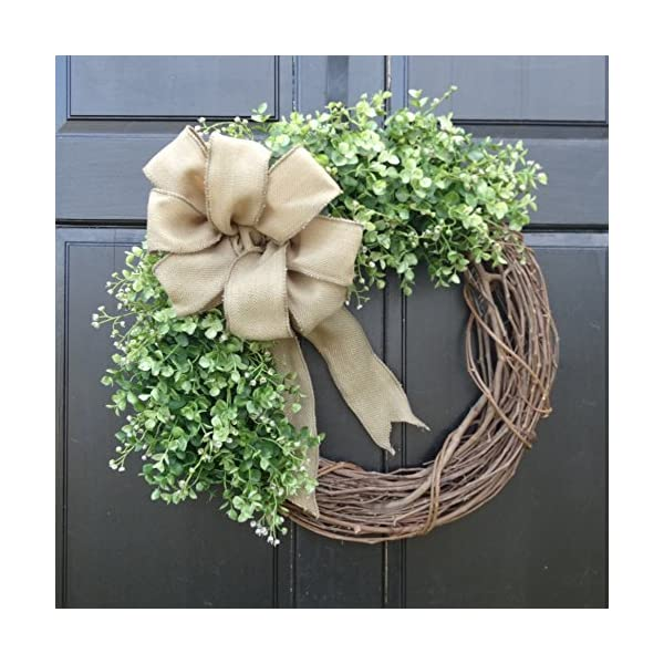 Eucalyptus Greenery Grapevine Wreath with Burlap Bow for Fall Winter Year Round Farmhouse Front Door Decor; Personalized Monogram Option