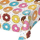 """Creative Converting 324230 Donut Time Plastic Border Tablecover All Over Print, 54"""" x 102"""", Multicolor"""