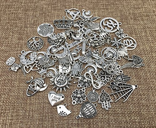 100g Exceedingly Assorted Newest Fasion Punk Steampunk Charm Pendant Connector for Necklace Bracelet Anklet DIY Crafting Accessories(Antique Silver) By Alimitopia