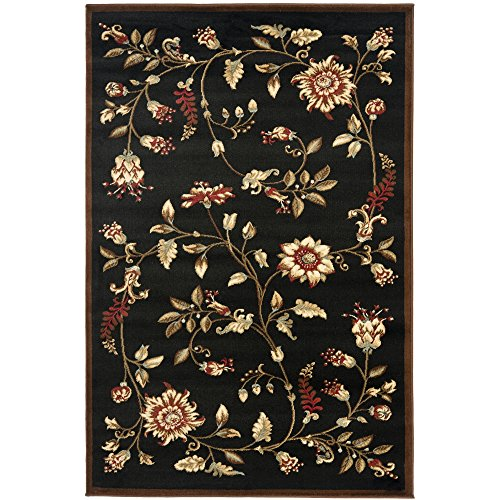 - Safavieh Lyndhurst Collection LNH552-9091 Traditional Floral Black and Multi Area Rug (4' x 6')