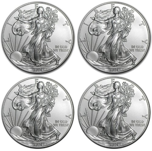 2014 1oz American Silver Eagles Coin Brilliant Uncirculated Gem - Set of 4 ()