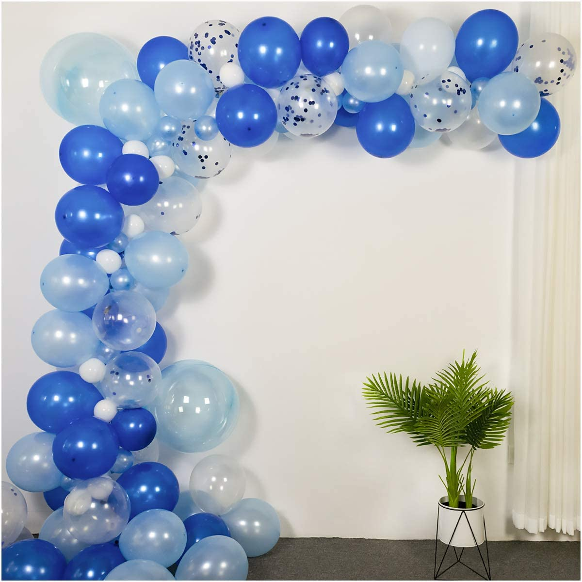 Luvier Ocean Blue Latex Balloon Garland Arch Kit with Strip/102pcs Latex/Confetti Large to Small Party Balloons for Shark Under The sea Party Baby Shower Decor (Ocean-Blue)