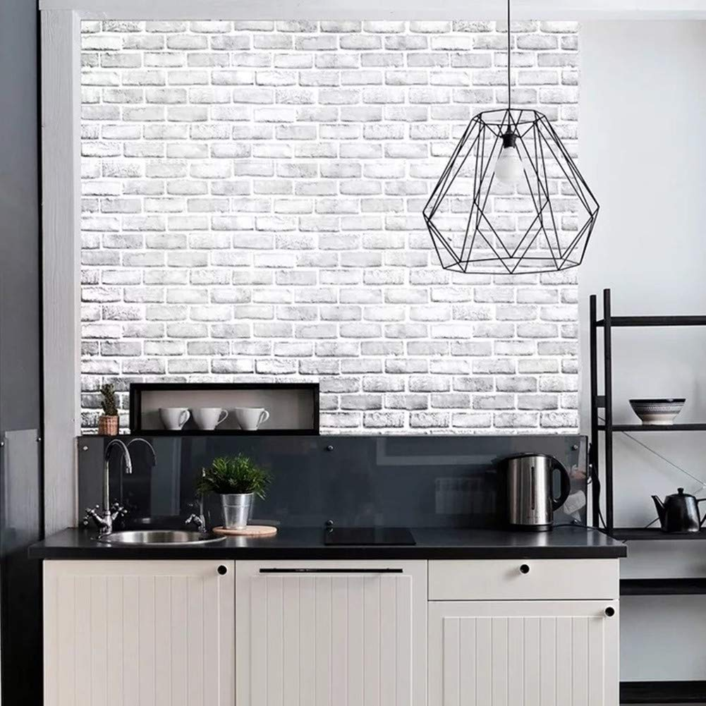 Yancorp White Gray Brick Wallpaper Grey Self-Adhesive Contact Paper Home Decoration Peel and Stick Backsplash Wall Panel Door Stickers Christmas Decor (18''x394'') by Yancorp (Image #4)