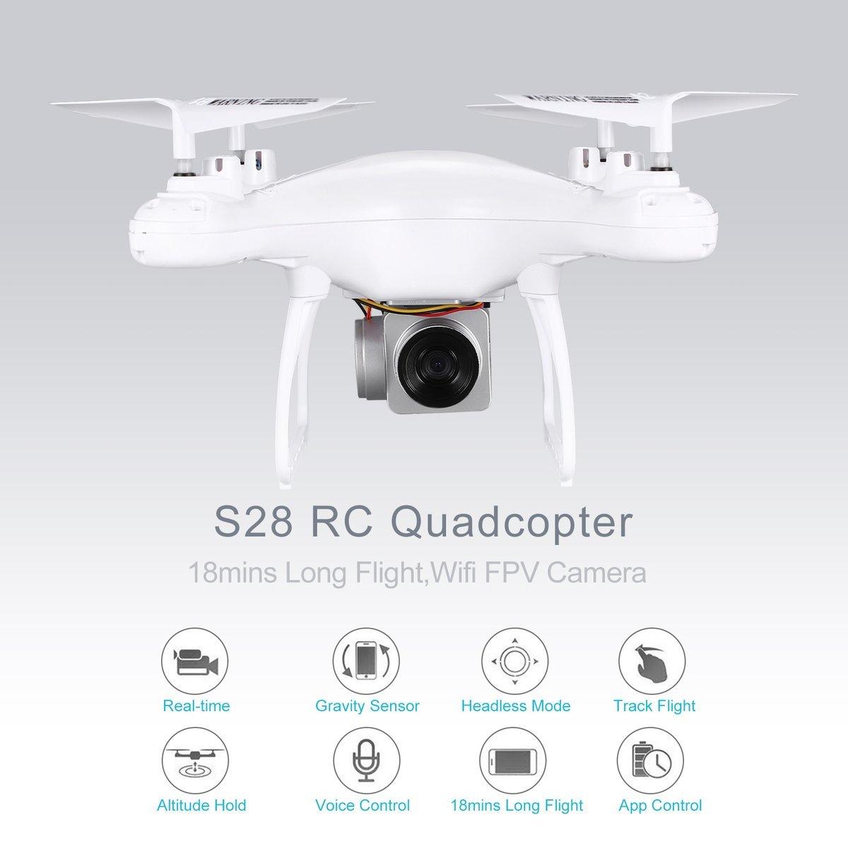 Gugutogo S28 RC Drone 2,4G Selfie Quadcopter Flugzeuge mit Wifi FPV Kamera Höhe Halten Auto Return Headless 3D Flip 18min Langen Flug (Farbe: Weiß)